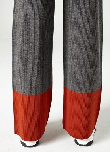 Mizalle Çift Renk Triko Pantolon  Gri